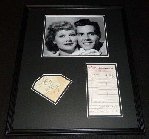 Lucille Ball & Desi Arnaz Dual Signed Framed Photo Display PSA/DNA I Love Lucy