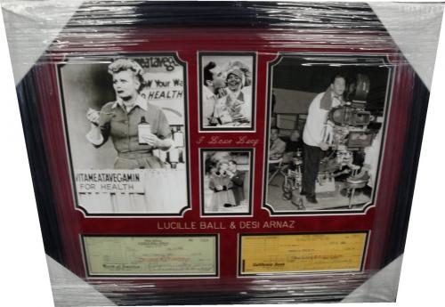 Lucille Ball & Desi Arnaz Signed Autographed Check -2 Checks- I Love Lucy Framed