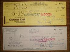 Lucille Ball & Desi Arnaz Signed Autographed Person Check (2 Checks) I Love Lucy