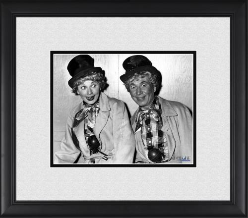 """Lucille Ball & Harpo Marx I Love Lucy Framed 8"""" x 10"""" in Clown Costumes Photograph"""