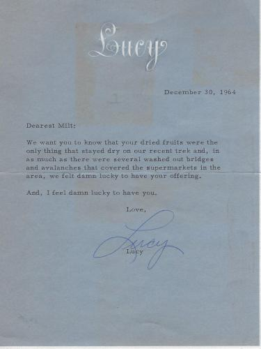 Lucille Ball Signed 1964 Letter BAS Beckett COA To I Love Lucy TV Show Writer