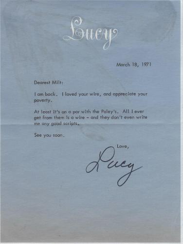 Lucille Ball Signed 1971 Letter BAS Beckett COA To I Love Lucy TV Show Writer