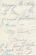 Lucille Ball Signed Hand Written Birthday Card BAS COA To I Love Lucy Show Crew