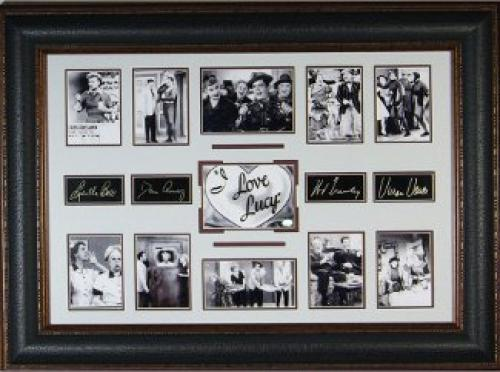 Lucille Ball unsigned I Love Lucy 27x39 Cast Multi-Photo Engraved Signature Series Leather Framed (tv/entertainment)