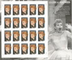 Lucille Ball Us Stamp Commemorative 20 Stamp Sheet Legends Of Hollywood Rare