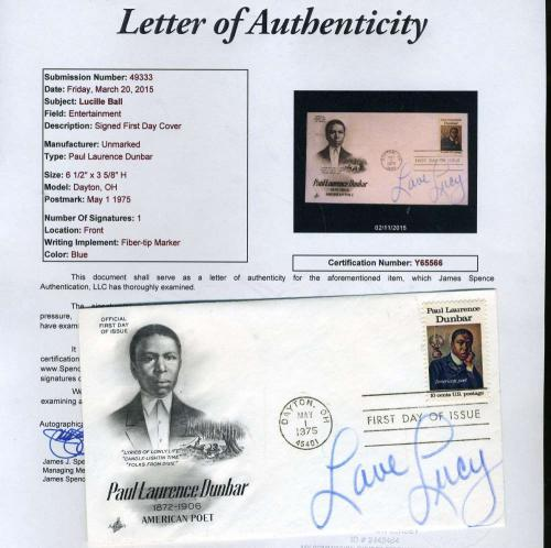 Lucy Lucille Ball Signed Jsa Certified Fdc First Day Cover Authentic Autograph
