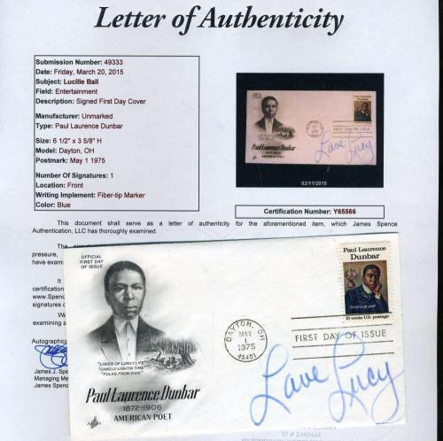 Lucy Lucille Ball Signed Jsa Certified Fdc First Day Cover Authenticated Autogra
