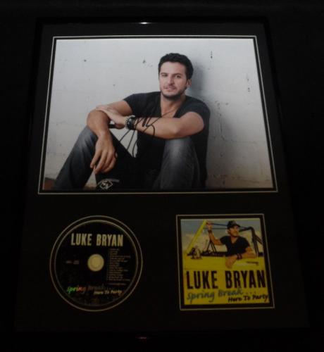 Luke Bryan Signed Framed 16x20 Spring Break Here to Party CD & Photo Display