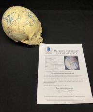 Luke Donaldson Andrew Lincoln Robert Kirkman Signed Walking Dead Skull Prop BAS