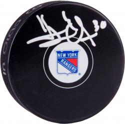 Henrik Lundqvist New York Rangers Autographed Team Logo Hockey Puck