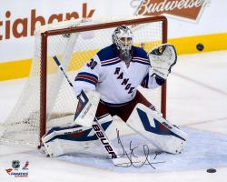 Henrik Lundqvist New York Rangers Autographed 16'' x 20'' Making Save Photograph - Mounted Memories