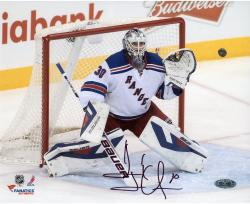 Henrik Lundqvist New York Rangers Autographed 8'' x 10'' Making Save Photograph - Mounted Memories