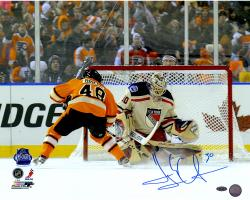 Henrik Lundqvist New York Rangers Autographed 16'' x 20'' vs. Danielle Briere Photograph - Mounted Memories