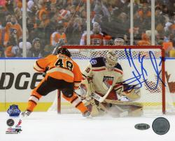 Henrik Lundqvist New York Rangers Autographed 8'' x 10'' vs. Danielle Briere Photograph - Mounted Memories