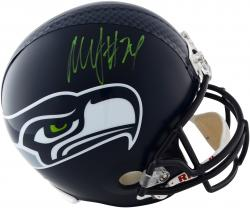 Marshawn Lynch Seattle Seahawks Autographed Riddell Replica Helmet with Green Signature