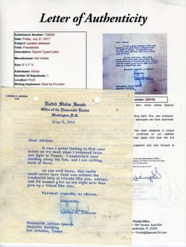 Lyndon Johnson Jsa Coa Hand Signed 1956 Letter Authentic Autograph