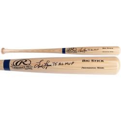 Fred Lynn Boston Red Sox Autographed Big Stick Blonde Bat with 75 AL MVP Inscription - Mounted Memories