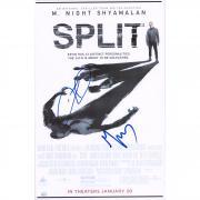 """M. Night Shyamalan and James McAvoy Split Autographed 12"""" x 18"""" Movie Poster - JSA"""