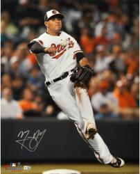 "Manny Machado Baltimore Orioles Autographed 16"" x 20"" White Fielding Photograph"
