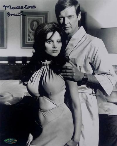 MADELINE SMITH James Bond Girl signed 8x10 w/ Roger Moore ~ OC COA + Photo Proof