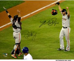 "Madison Bumgarner and Buster Posey San Francisco Giants Autographed 16"" x 20"" 2014 World Series Photograph"