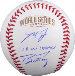 Madison Bumgarner and Buster Posey San Francisco Giants Autographed 2014 World Series Baseball with Bumgarner 14 WS Champs Inscription
