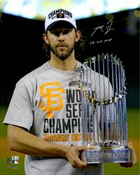 "Madison Bumgarner San Francisco Giants Autographed 16"" x 20"" 2014 World Series Celebration Photograph with 14 WS MVP"