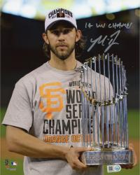 "Madison Bumgarner San Francisco Giants Autographed 8"" x 10"" 2014 World Series Celebration Photograph with 14 WS Champs"