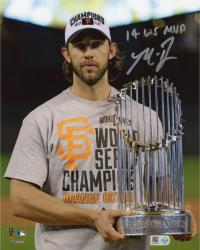 "Madison Bumgarner San Francisco Giants Autographed 8"" x 10"" 2014 World Series Celebration Photograph with 14 WS MVP"