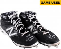 Madison Bumgarner San Francisco Giants Autographed Black Game Used Cleats with 14 Game Used and WS MVP Inscription