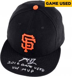 Madison Bumgarner San Francisco Giants Autographed Game Used Black Cap with 2014 Game Used, WS MVP Inscription