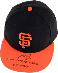 Madison Bumgarner San Francisco Giants Autographed Game Used Black Cap with Orange Bill and 2014 Game Used, WS MVP Inscription