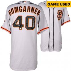 Madison Bumgarner San Francisco Giants Autographed Gray Game Used Jersey with Multiple Inscriptions
