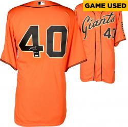 Madison Bumgarner San Francisco Giants Autographed Orange Game Used Jersey with GU 14 Inscription