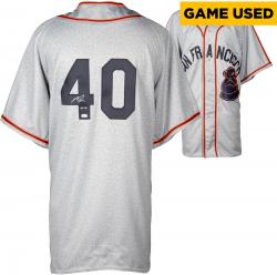 Madison Bumgarner San Francisco Giants Autographed Throwback Game Used Jersey with GU 14 Inscription