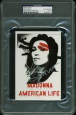 Madonna Signed 4x6 2003 American Life Tour Postcard PSA/DNA Slabbed