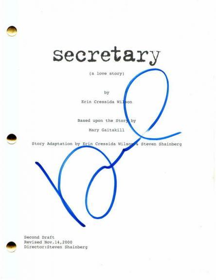 MAGGIE GYLLENHAAL SIGNED AUTOGRAPH SECRETARY FULL MOVIE SCRIPT - w/ JAMES SPADER