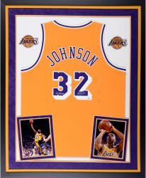 Magic Johnson Los Angeles Lakers Autographed Deluxe Framed Gold Adidas Swingman Jersey with 5x Champs Inscription