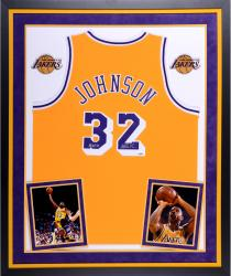Magic Johnson Los Angeles Lakers Autographed Deluxe Framed Gold Adidas Swingman Jersey with HOF 02 Inscription