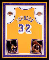Magic Johnson Los Angeles Lakers Autographed Deluxe Framed Gold Adidas Swingman Jersey with Showtime Inscription