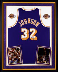 Magic Johnson Los Angeles Lakers Autographed Deluxe Framed Purple Adidas Swingman Jersey with 5x Champs Inscription
