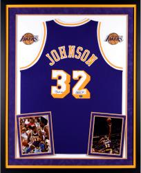 Magic Johnson Los Angeles Lakers Autographed Deluxe Framed Purple Adidas Swingman Jersey with Showtime Inscription