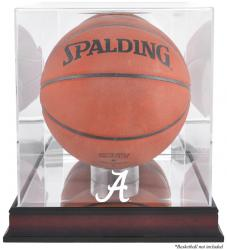 Alabama Crimson Tide Mahogany Antique Finish Basketball Display Case with Mirror Back