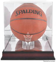 Arizona State Sun Devils Mahogany Antique Finish Basketball Display Case with Mirror Back - Mounted Memories