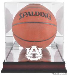 Auburn Tigers Mahogany Antique Finish Basketball Display Case with Mirror Back