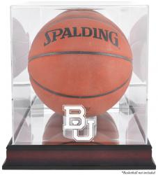 Baylor Bears Mahogany Antique Finish Basketball Display Case with Mirror Back - Mounted Memories