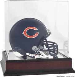 Chicago Bears Mahogany Logo Mini Helmet Display Case