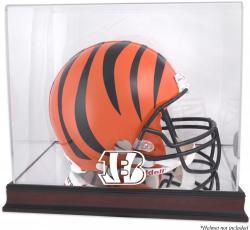 Cincinnati Bengals Mahogany Helmet Logo Display Case with Mirror Back