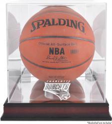 Charlotte Bobcats Mahogany Team Logo Basketball Display Case with Mirrored Back