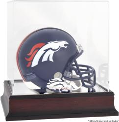 Denver Broncos Mahogany Logo Mini Helmet Display Case